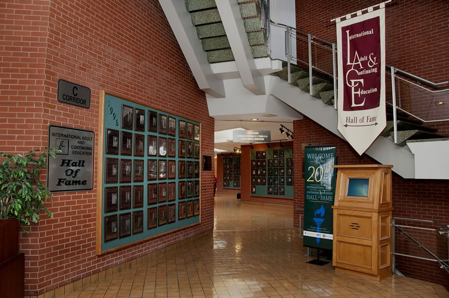 Hall of Fame wall in Forum Building, located on University of Oklahoma South Campus.