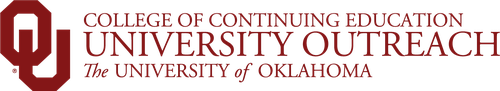 "Grey and White Checkerboard background. OU Logo reads ""College of Continuing Education - University Outreach - The University of Oklahoma"""