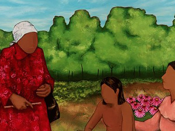 A painting of three people in a field of roses.